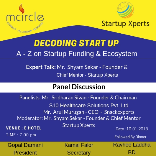 Startup Xperts & mCircle organized a Startup event – Decoding Startup Funding